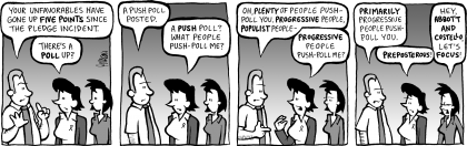 """Comic strip: """"A poll is posted"""""""
